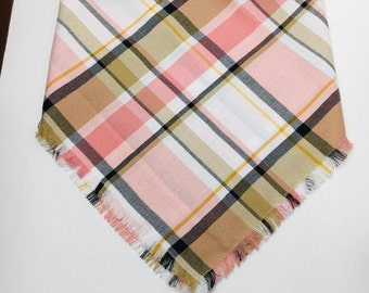 XXS-L Pink and Tan Madras Print Light Weight Frayed Bandana - Made to Order