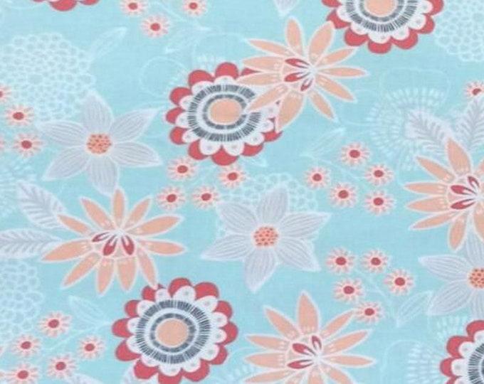 XXS-XXL Coral Flowers on Blue Bandana Bib