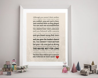CAREGIVER DAYCARE RETIREMENT Poem Digital Download - Daycare Provider Gift, Retirement Gift, Caregiver, Godmother, Stepmother, Like a Mother