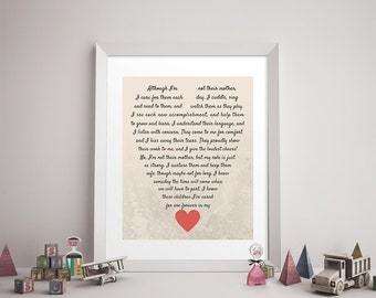 CAREGIVER/DAYCARE POEM Print - Daycare Provider Gift, Caregiver Print, Godmother, Stepmom, Stepmother, Family Art, Heart, Like a Mother