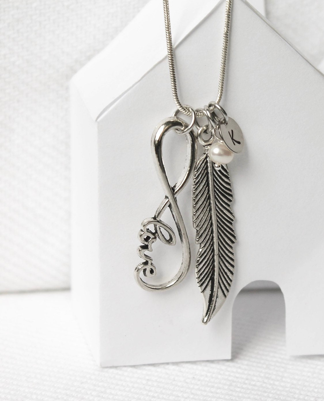 Feather Pendant Necklace Custom Jewelry With Large Feather