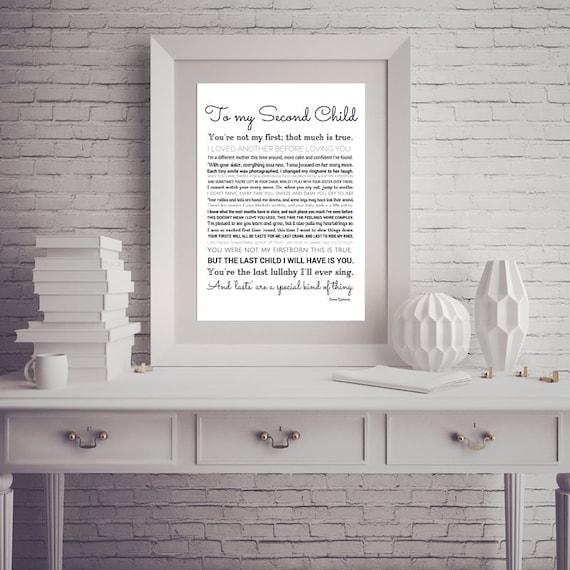 Second Child Print Mom Of 2 Nursery Art Baby Shower Etsy