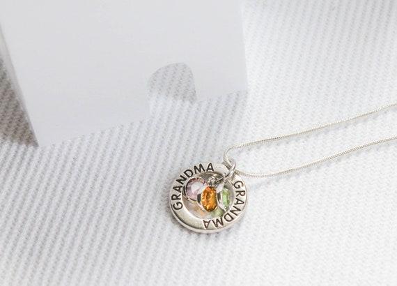 Eternity Necklace Grandma Gift Mom Birthstone Jewelry \u2022 Grandma Birthday Gift \u2022 Mother Jewelry Birthstone Infinity Circle Eternity Family