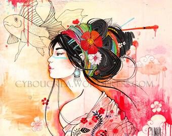 Urban Geisha painting canvas print