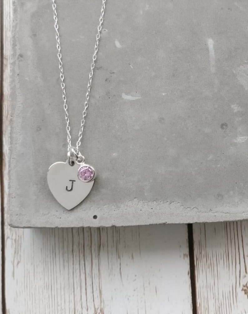 1b765ddc36368 Personalised Sterling Silver Heart Necklace, Heart Necklace, Silver Heart  Charm, Heart Initial Necklace, Bridesmaid Gift, Birth Stone