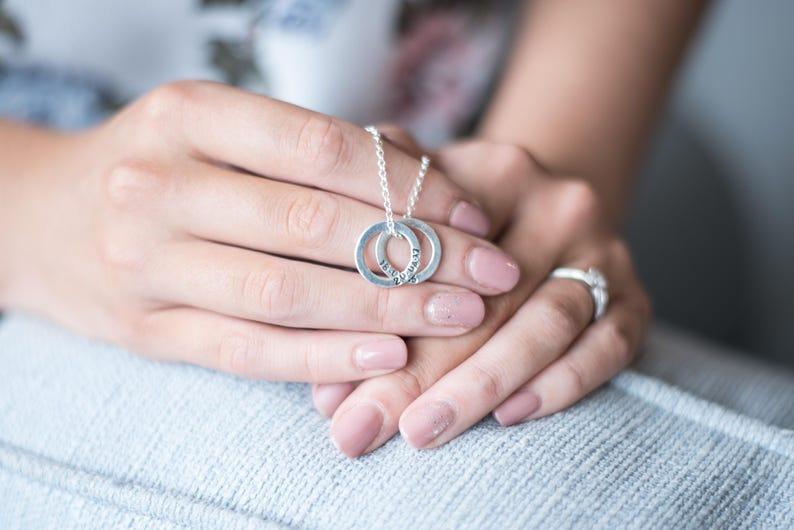 Birth Stone Circle Name Necklace Silver Circle Necklace Circle Pendant Bridesmaid Gift Personalised Sterling Silver Circle Necklace