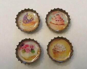 4 pc. Cupcake Bottle Cap Magnet Set