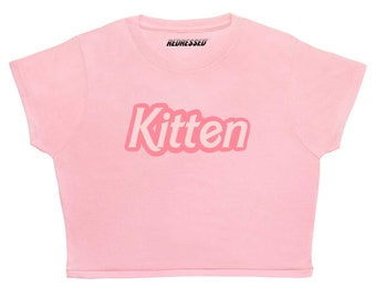 f6f5618f7ba FREE UK Shipping Kitten Crop Top ∘ White 90s Grunge ∘ 70s ∘ Retro ∘ Kawaii  ∘ Pastel ∘ Baby Blue Pink ∘ Anime ∘ Womens Ladies ∘ S M L XL 2XL