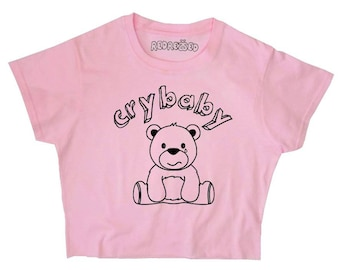 76f1b96f52f FREE SHIPPING Crybaby Crop Top ∘ 90s Grunge ∘ Teddy Bear ∘ Kawaii ∘ Baby  Girl ∘ Daddy ∘ Baby Pink Blue ∘ Womens Ladies ∘ S M L XL 2XL