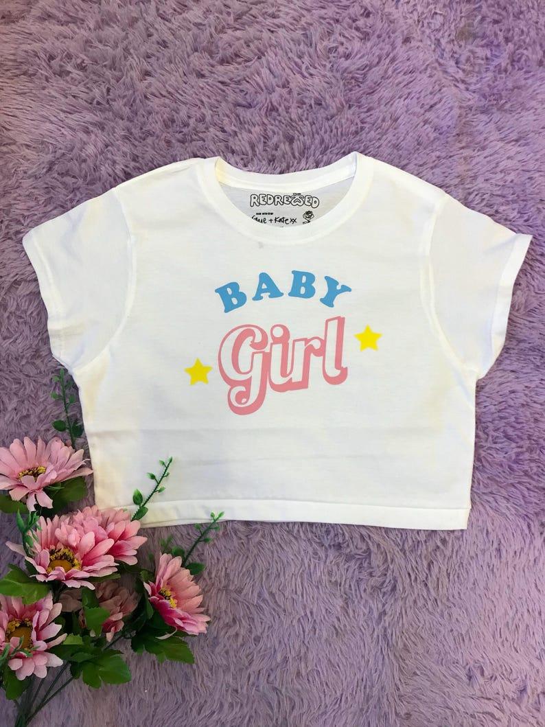19cb8c20da9f5d Baby Girl Stars Crop top 90s Grunge Kawaii Pastel