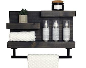Bathroom Shelf with Modern Towel Bar, Bathroom Wall Decor, Country Rustic  Storage, Modern Farmhouse, Apartment Decor