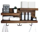 Bathroom Storage Shelf with Towel Hooks, Farmhouse Country Rustic Storage, Modern Farmhouse, Apartment Decor, Guest Storage
