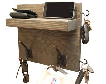 Coat Rack with Floating Shelf and Hooks, Small Rustic Coat Rack,  Studio Dorm Rooms, Mail and Key Holder, Cell Phone Shelf