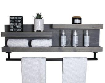 """32"""" Bathroom Shelf Organizer with Modern Towel Bar - Modern Farmhouse"""