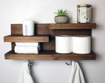 Bathroom Shelf Organizer with Towel Hooks, Farmhouse Country Rustic  Storage, Modern Farmhouse, Apartment Decor, Guest Storage