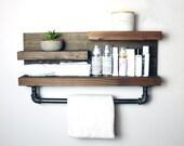 Bathroom Storage Shelf with Towel Bar, Country Rustic Storage, Modern Farmhouse, Apartment Decor, Dorm Decor, Rustic Wood Shelf