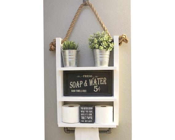 White Farmhouse Bathroom Shelf With Towel Bar Bathroom Decor Etsy
