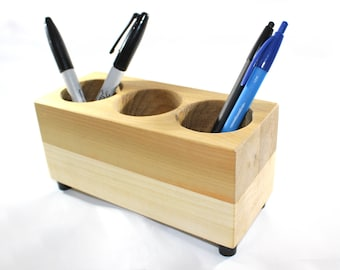 Pencil and Pen Holder, Desk Organizer, Farmhouse Decor, Office Caddy,  Poplar and Red Oak