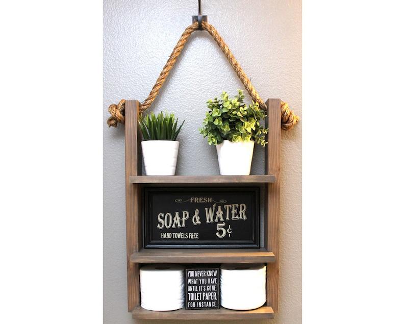 Bathroom Farmhouse Ladder Shelf Brown Walnut Large Modern image 0