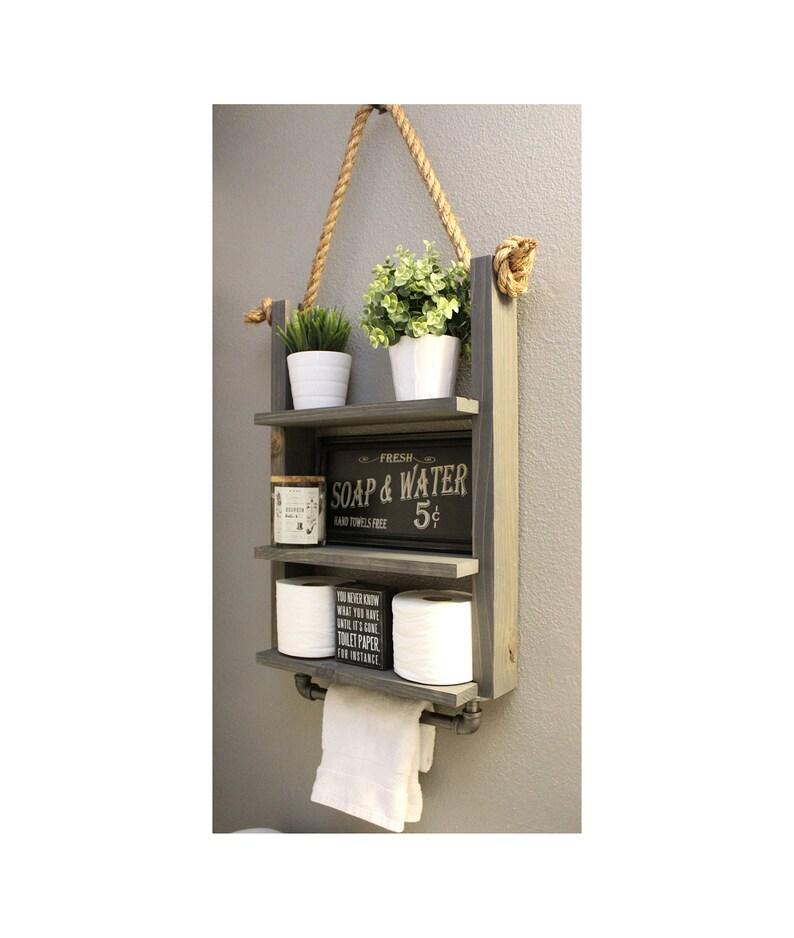 Bathroom Farmhouse Ladder Shelf Industrial Towel Bar Rustic image 0