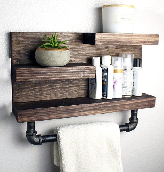 Bathroom Shelf With Industrial Farmhouse Towel Bar Bathroom Etsy