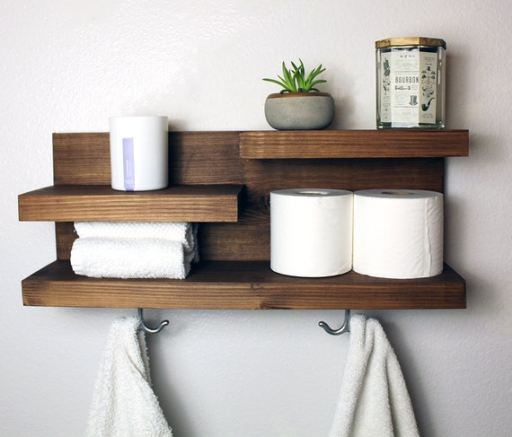 Bathroom Shelf Organizer With Towel Hooks Farmhouse Country Etsy