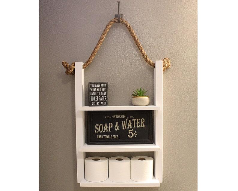 White Bathroom Farmhouse Ladder Shelf Modern Farmhouse image 0