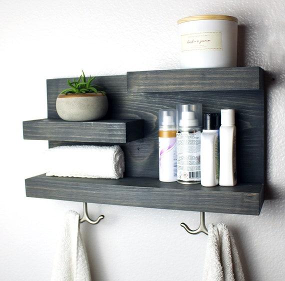Bathroom Shelf Organizer with Towel Hooks Modern Farmhouse | Etsy