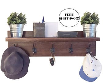 Coat Rack with Floating Shelf, Modern Farmhouse, Rustic Entryway Shelves, Backpack Organizer, Mudroom Hooks