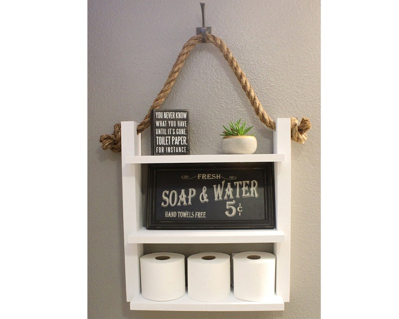 Bathroom Shelf with Rope Country Cottage Chic Farmhouse  image 0