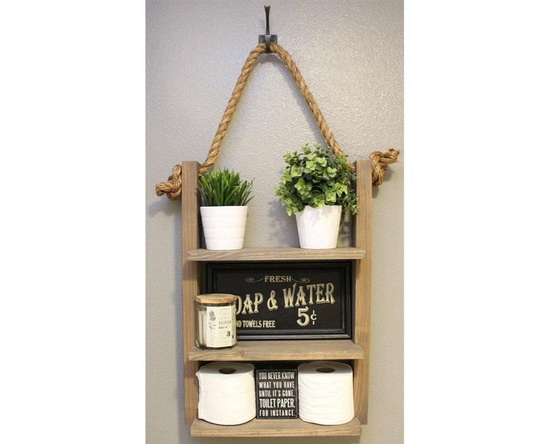 Farmhouse Furniture Bathroom Shelf Organizer  Ladder Storage image 0