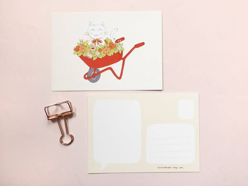 snailmail Postcard with cute cat in a wheelbarrow with flowers greeting card kitty happy mail floral A6 mini print