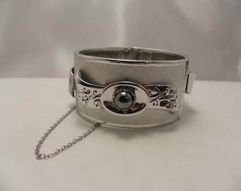 Vintage Silver Hematite Wide Cuff Bracelet