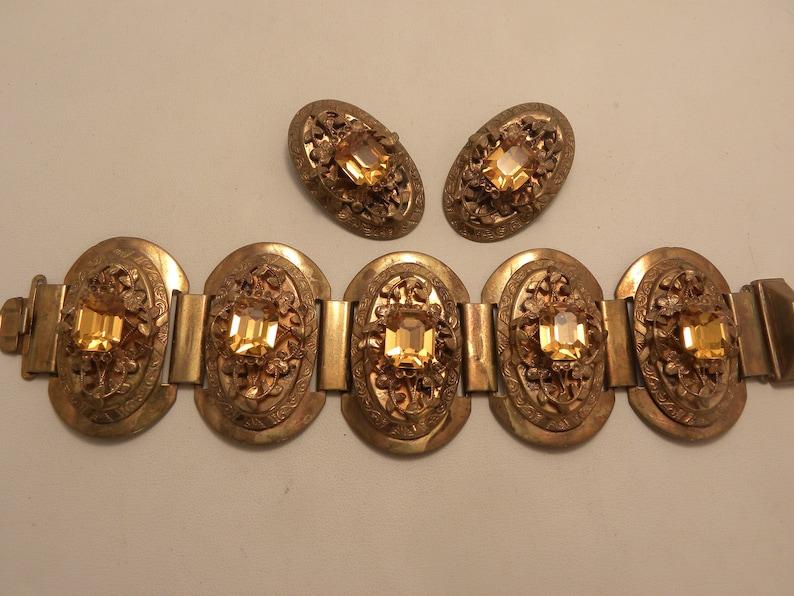 Vintage Art Deco Topaz Stone Wide Ornate Goldtone Bracelet Earring Set