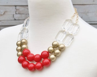 Red Statement Jewelry - Glamorous Bib Necklace - Red Bridal Party Necklace - Bridesmaids Gift - Bold Beaded Necklace - Simple Chunky Jewelry
