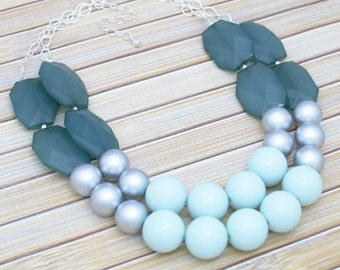 Bridesmaids Necklace Jewelry - Wedding or Social Event Necklace - Chunky Mint Bib Necklace - Aqua & Teal Silver Statement Necklace Gift Idea