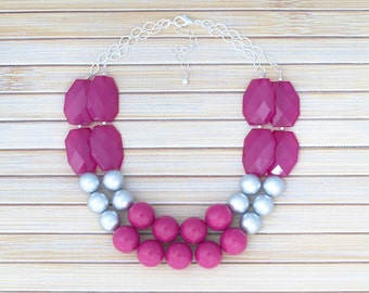 Hot Pink Bright Fuchsia Statement Necklace, Bold & Colorful Jewelry, Chunky Beaded Jewelry, Silver Statement Necklace, Prom Event Necklace
