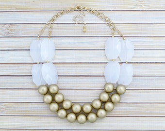 Formal Occasion Jewelry Necklace - Statement Necklace - Beaded Chunky Large Bead Bib Necklace  - Gold Collar Special Event Necklace