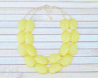 Yellow Statement Necklace, Multi Strand Beaded Double Layer Necklace, Yellow & Gold Statement Necklace, Layered Chunky Yellow Necklace