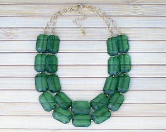 Emerald Green Crystal Chunky Statement Necklace - Faceted Sparkling Stone Beaded Jewel Necklace - Christmas Holiday Birthday Gift Necklace