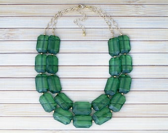 Green Beaded Multistrand Necklace - Layered Statement Necklace - Green Bib Necklace - Womens Collar Necklace - Multi Layer Strand Necklace