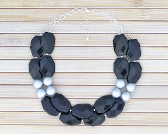 Beaded Chunky Necklace, Black Jewelry, Christmas or Birthday Gift, Statement Acrylic Formal Prom Necklace, Wedding Evening Event Jewelry,