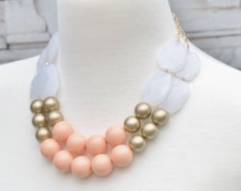Statement Necklace - Peach Evening Event Jewelry - Everyday Jewelry - Simple Beaded Double Strand Necklace - Women's Gift, Free Gift Wrap