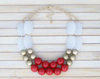 SALE! Red Necklace - Bright Color Statement Necklace - Inexpensive Jewelry - Low Price Necklace, Big Bib Necklace, Ball Bead Event Necklace