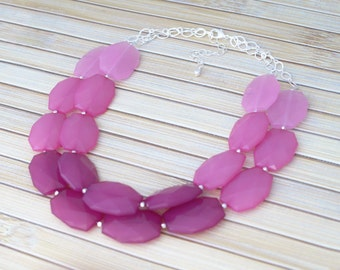 Pink Beaded Necklace, Pink Statement Necklace, Fashion Formal Prom Special Event Necklace, Graduated Three Color Pink Wedding Necklace