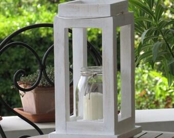 White wooden lantern, hanging lantern, shabby Chic lantern, rustic house style décor, wedding centerpieces
