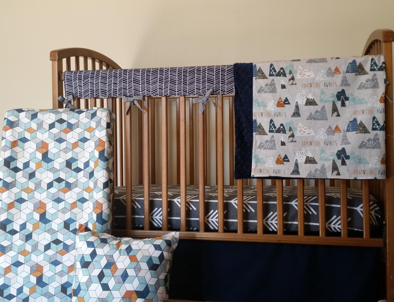 Crib Skirt Solid Navy Baby Crib Navy Baby Boy Bedding Baby Etsy