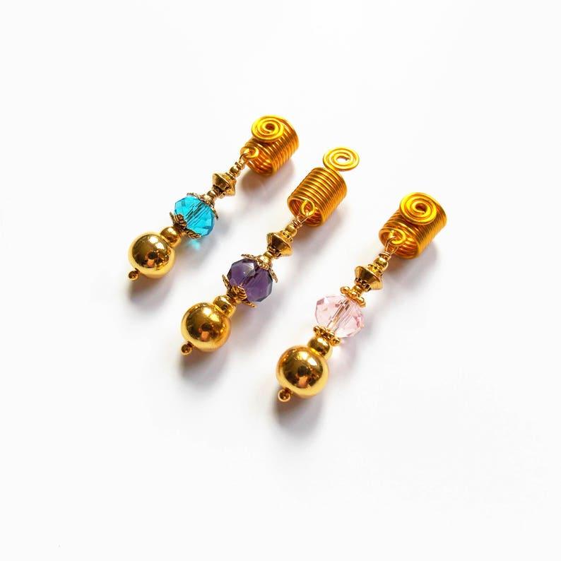 Handmade Three Gold plated Dreadlocks cuffs Wire Braid Beads Loc Jewelry IvoStyleLine Hair Accessories Hair Beads,Sisterlocks Jewelry