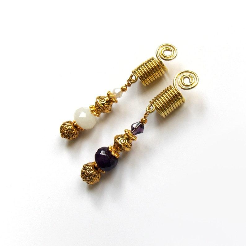 Dangle hair beads Faceted crystal glass Gold plated sisterlock cuffs Sisterlocks coils Hair accessory Sisterlocks jewelry IvoStyleLine