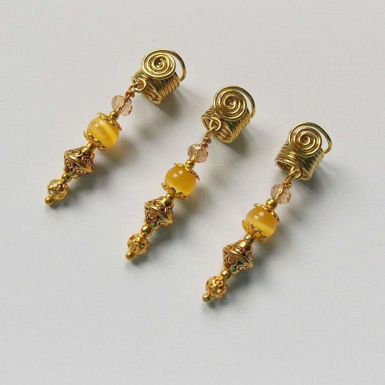 Hair Accessories Gold plated Dreadlocks cuffs Handmade by IvoStyleLine Hair Beads Gemstone hair beads Loc Jewelry Sisterlocks Jewelry